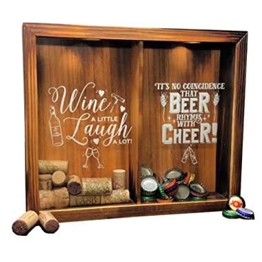 Napa Gift Store Wine Cork & Beer Cap Holder Shadow Box - Wall Mounted or Free Standing - Wine & Bar Decor for Him & Her - Rustic Stained Wood - 11  x 13