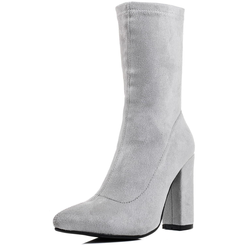 Spylovebuy Dark Horse Damen Reissverschluss Blockabsatz Stiefeletten Schuhe Grau - Synthetik Wildleder
