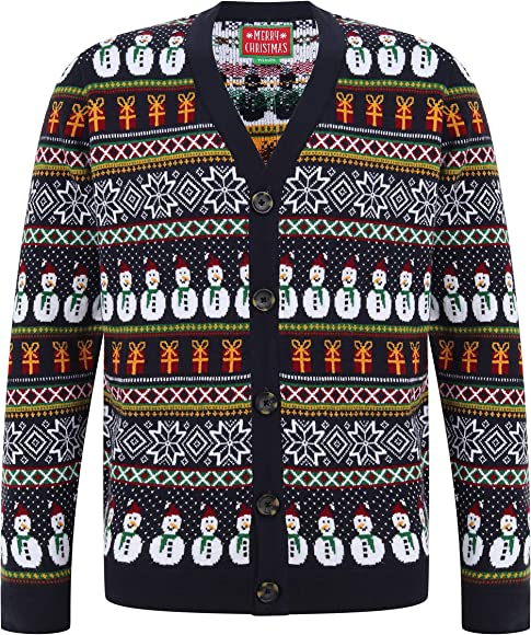 Mens Knitted Novelty Christmas Design Button Up Cardigan