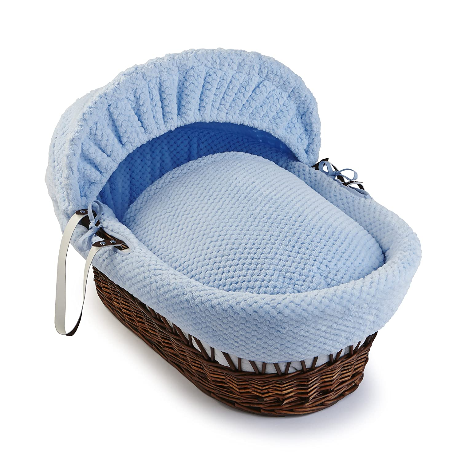Clair de Lune Honeycomb Dark Wicker Moses Basket inc. bedding, mattress & adjustable hood (Blue) CL5134DB