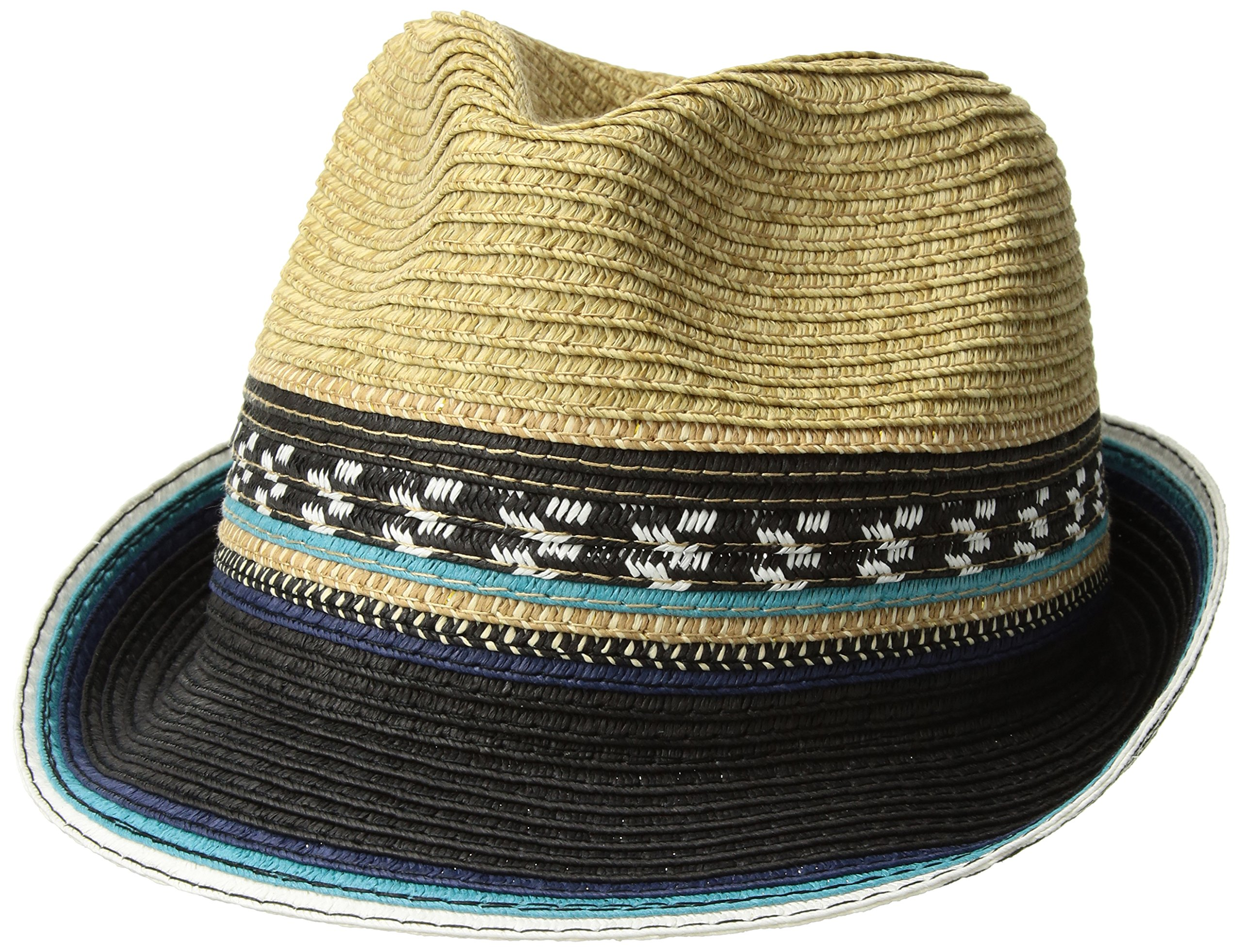 Steve Madden Women's Two Weave Banded Fedora, Turquoise, One Size