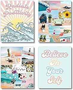 Brooke & Vine VSCO Beach Teen Girl Room Wall Decor Art Prints (UNFRAMED 8 x 10) - Inspirational Wall Art, Motivational Quotes Posters for Kids, Tween Women Office Bedroom, Dorm, Cubicle, Desk (VSCO Girl)