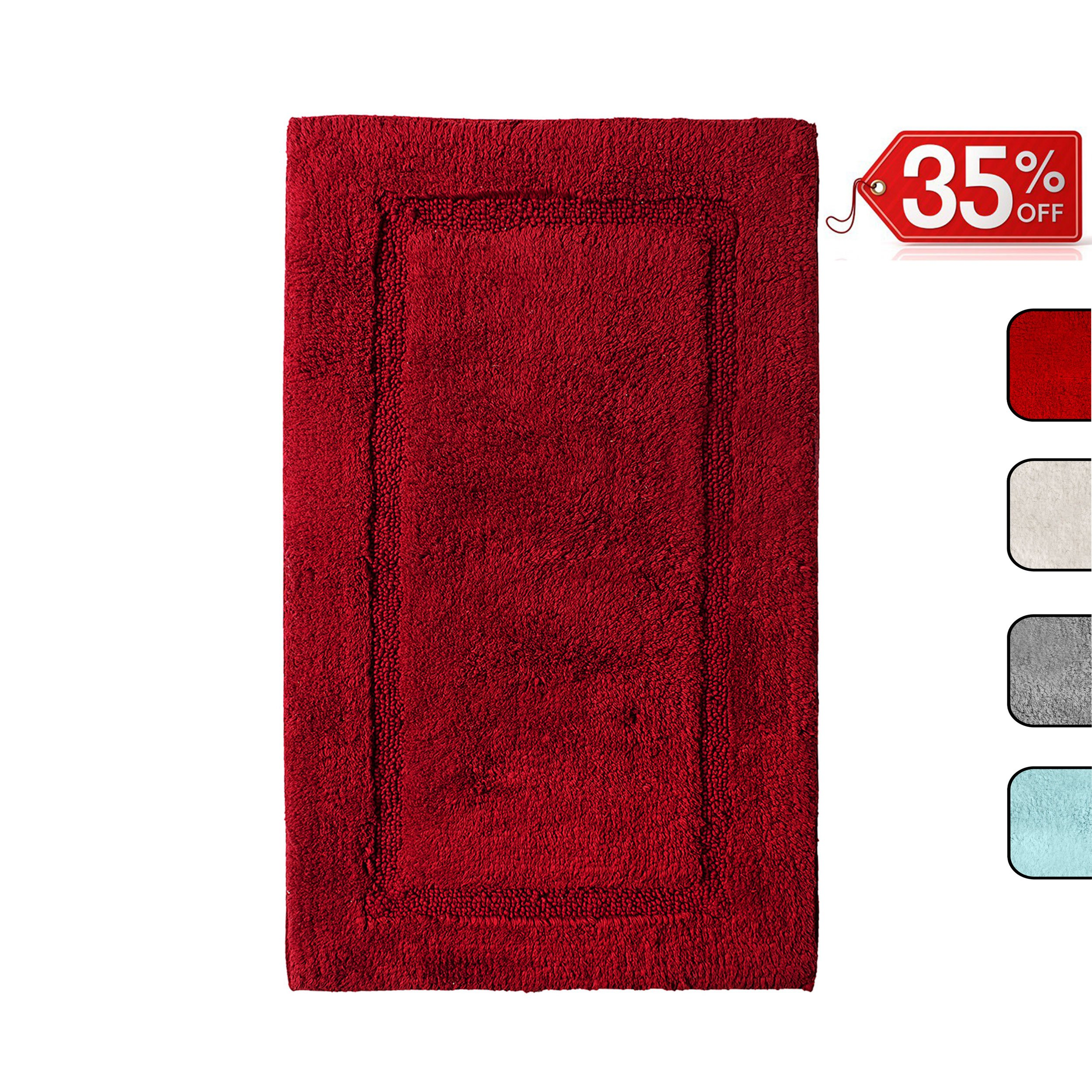 QltyFrst Bathroom Rugs Non-Skid 100% Premium Cotton 1900 GSM Size 21''x34'' Bath Mat Luxurious Area Rug Extra Plush Absorbent Red