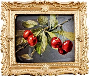 Melody Jane Dolls Houses House Miniature Accessory Cherries On A Branch Picture Painting Gold Frame