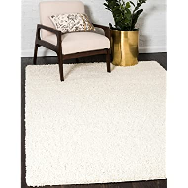 Unique Loom Solo Solid Shag Collection Modern Plush Pure Ivory Rectangle (6' x 9')