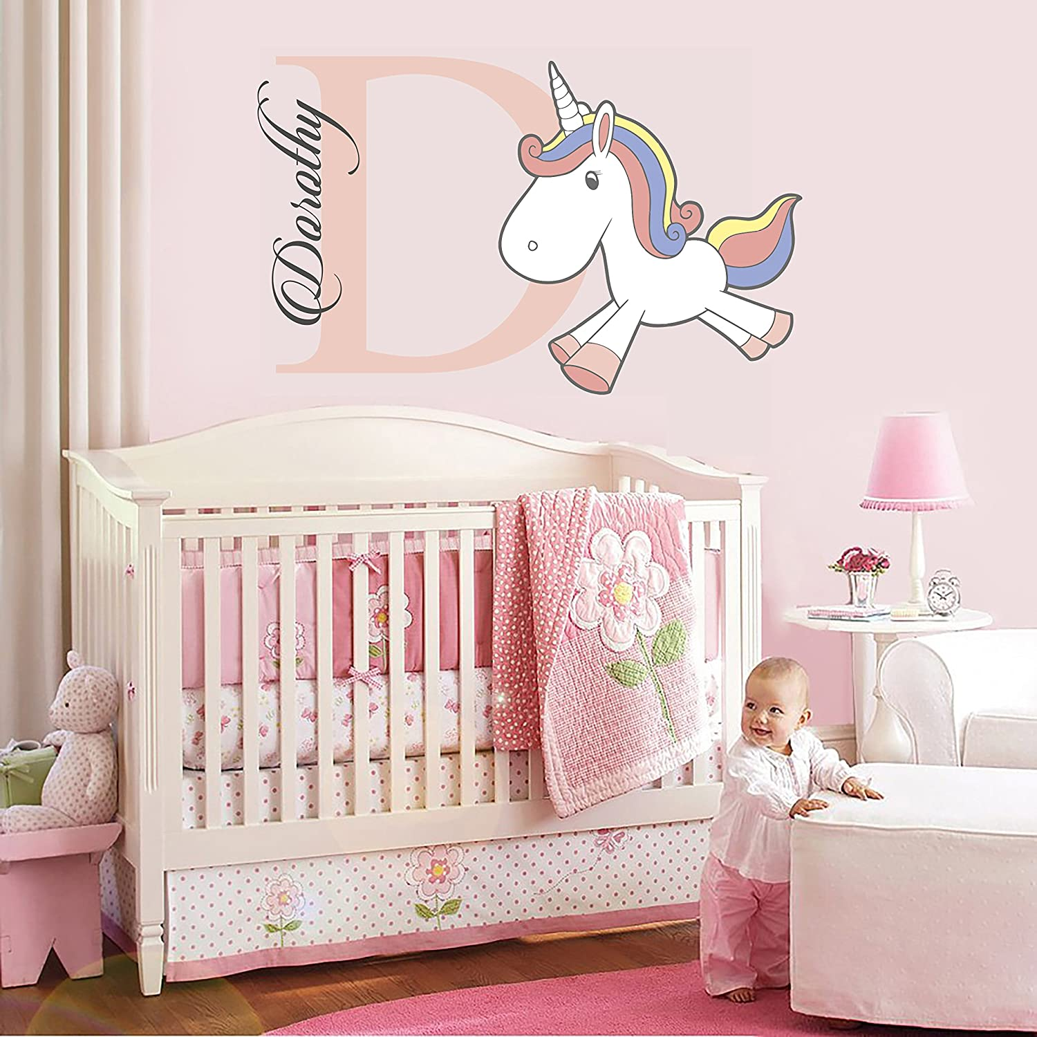 "e-Graphic Design Inc Custom Name and Initial Unicorn Nursery - Baby Boy Girl Decoration - Wall Decal Sticker for Home Interior Decoration Car Laptop (M339) (Wide 30"" x 18"" Height)"