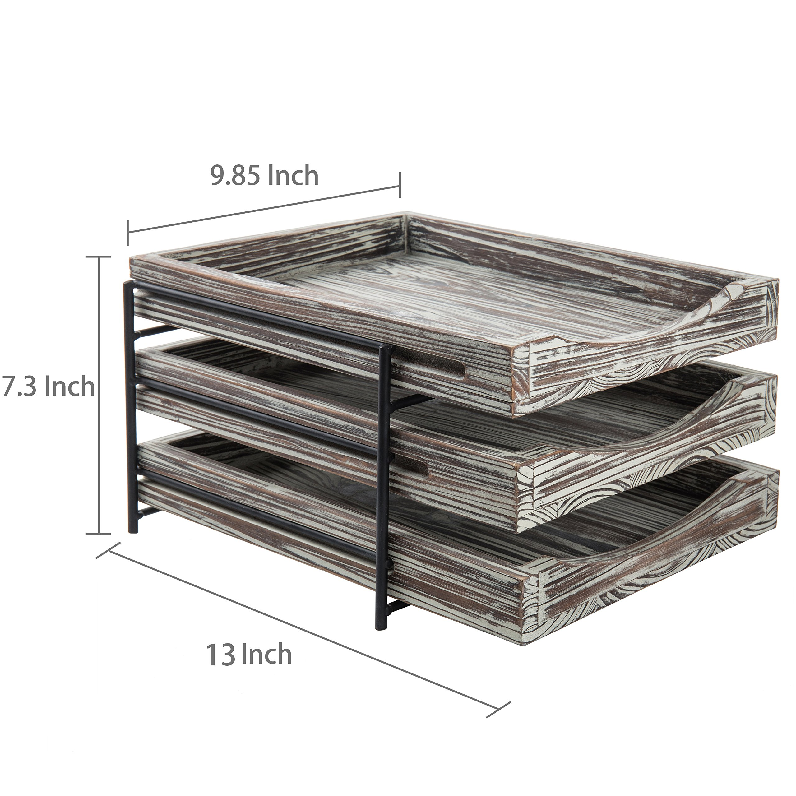MyGift 3-Tier Rustic Torched Wood & Black Metal Document Organizer with Sliding Trays by MyGift (Image #7)
