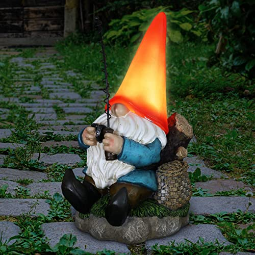 Exhart Solar Good Time Fishing Freddy Gnome w/Solar LED Red Hat Light   Outdoor Garden Gnome D cor  Weather Resistant Gnome