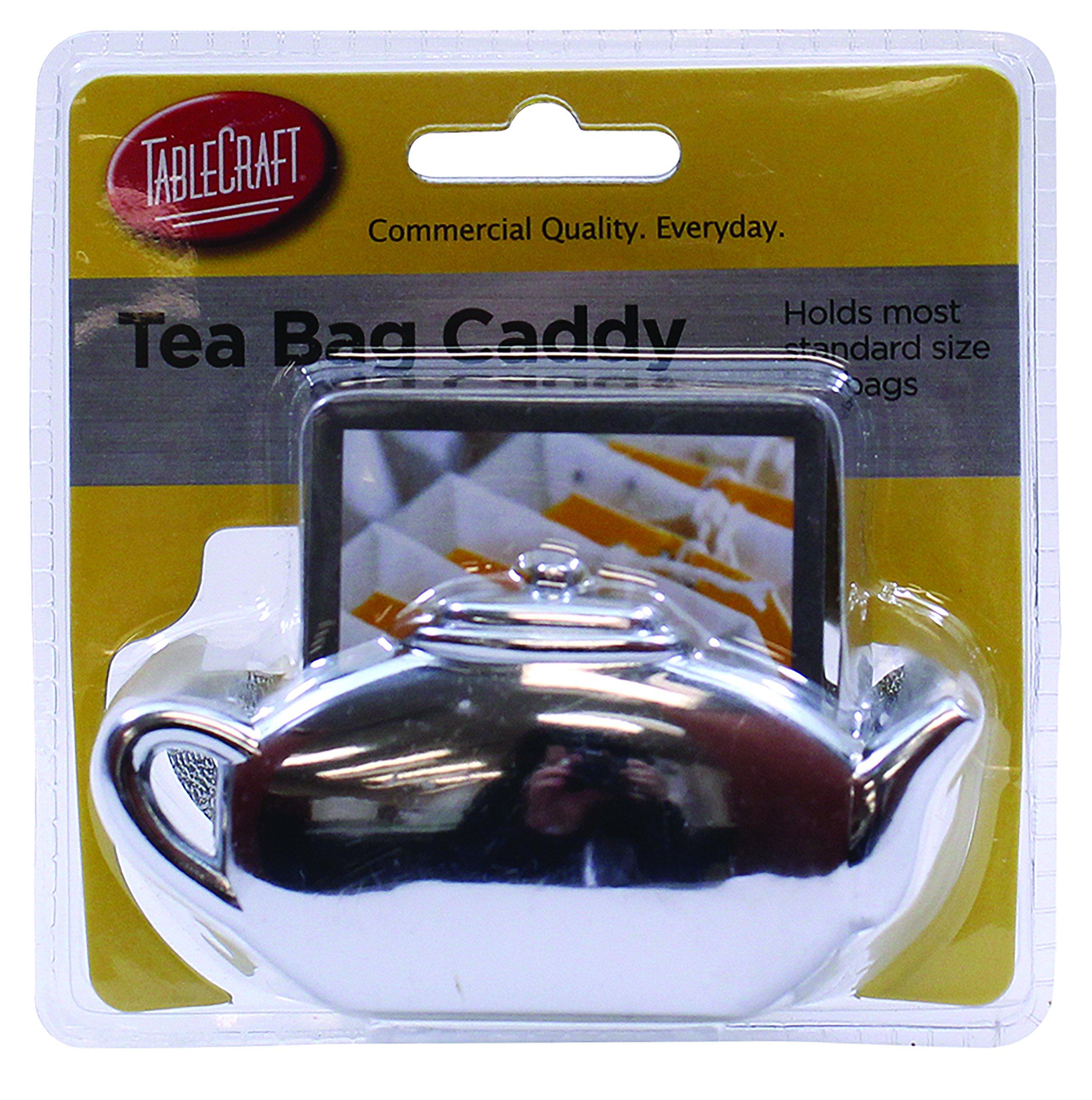 Tablecraft H1232H Tea Bag Caddy, Small, Silver