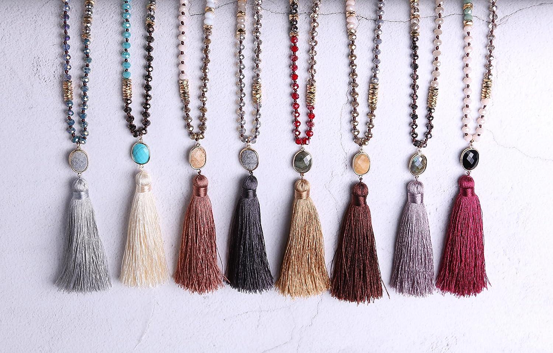 KELITCH 6MM Crysta AB Beaded Long Necklace Color Tassel Agate Pendant Women Strand Bracelet for Summer AMN-17065FK