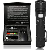 DAX Tactical USB LED Flashlight Kit: USB Rechargeable Tactical Flashlight, Ultra Bright, Pocket Clip (For Hiking or Camping), 950 Lumens, 5 Modes, Adjustable Focus, 18650 Battery, Gift Box Included