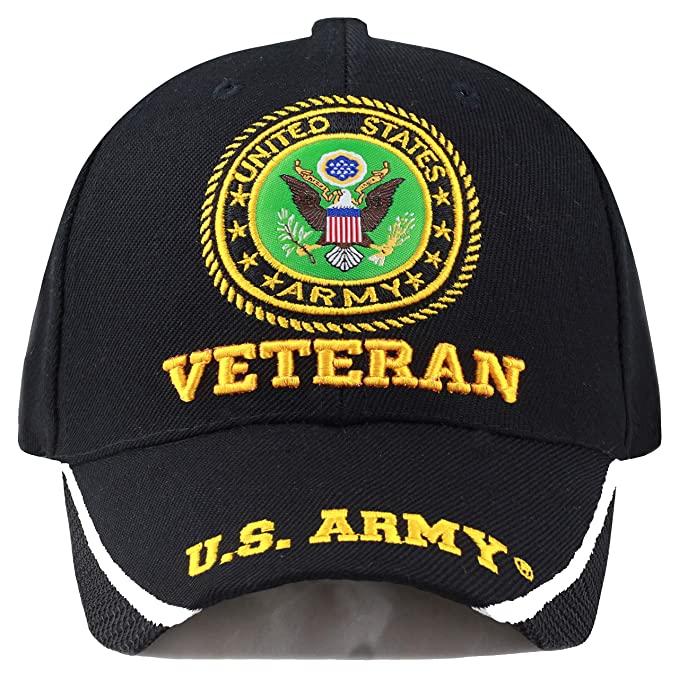 29d4a789db3447 The Hat Depot 1100 Military Licensed U.S. Army Logo Cap (Black Army-Vet)