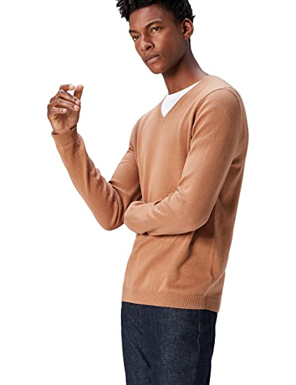 d037684a1686 Amazon.com  Amazon Brand - find. Men s Cotton V-Neck Sweater  Clothing