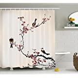 House Decor Shower Curtain Set By Ambesonne, Stylized Blooming Japanese Cherry Tree Watercolor Painting Effect Artistic Design Print, Bathroom Accessories, 69W X 70L Inches, Ruby Light Caramel