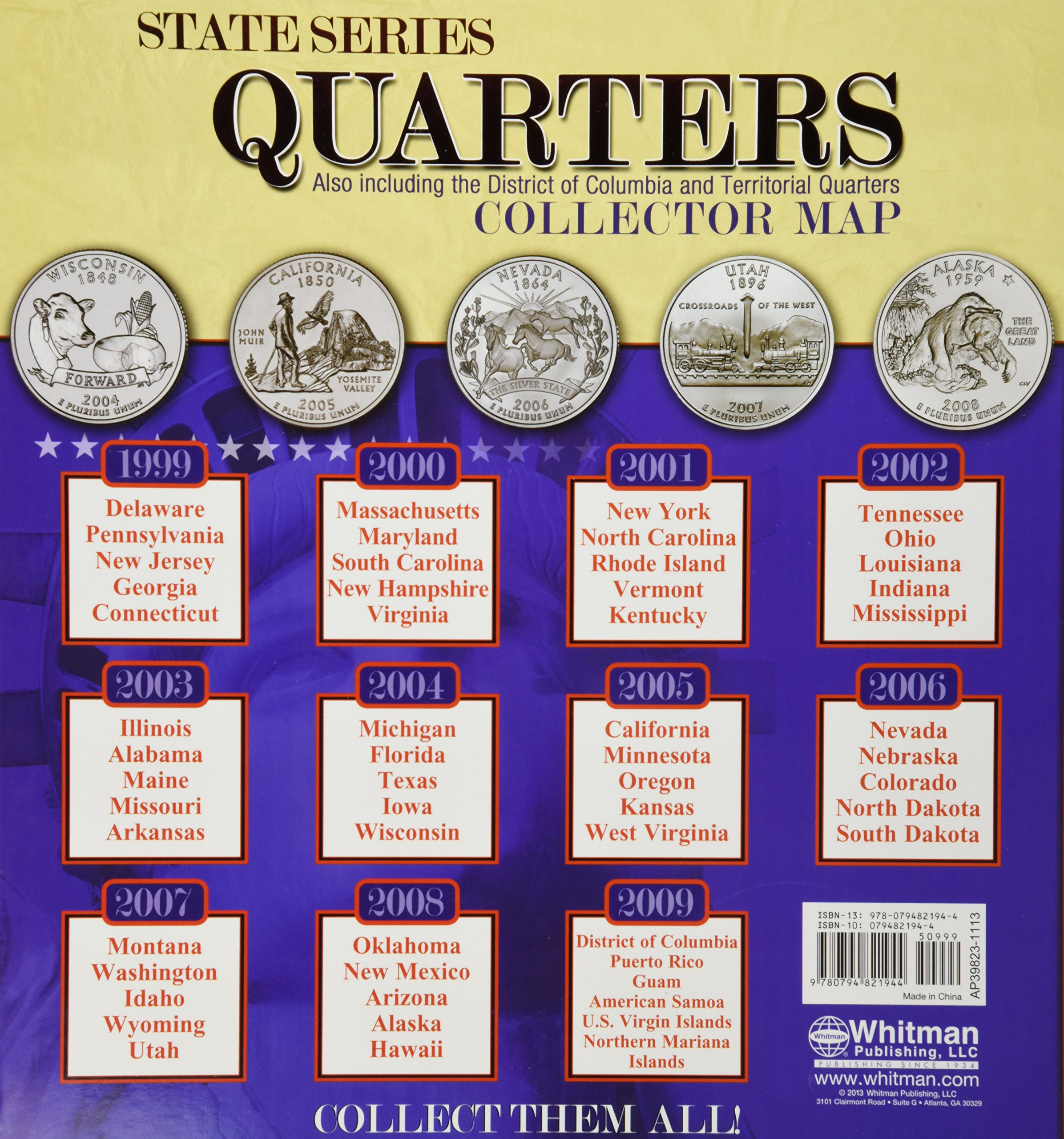 Amazoncom State Series Quarters Collector Map Also Including - Us national park quarters book