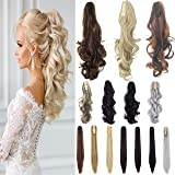 FLORATA Curly Straight Claw Jaw Ponytail Clip In Hair Extensions Wavy Hairpiece