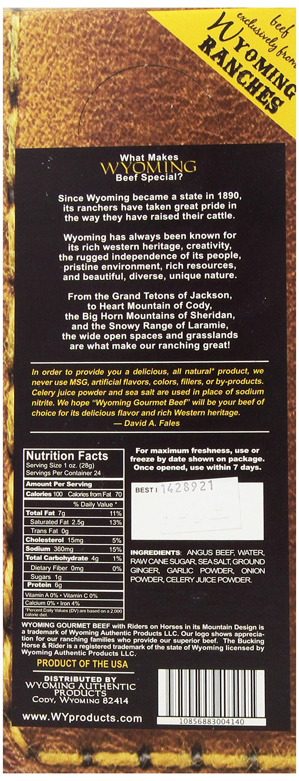 Wyoming Gourmet Beef All Natural Angus Ginger and Garlic Stick, 1 Ounce (Pack of 24)
