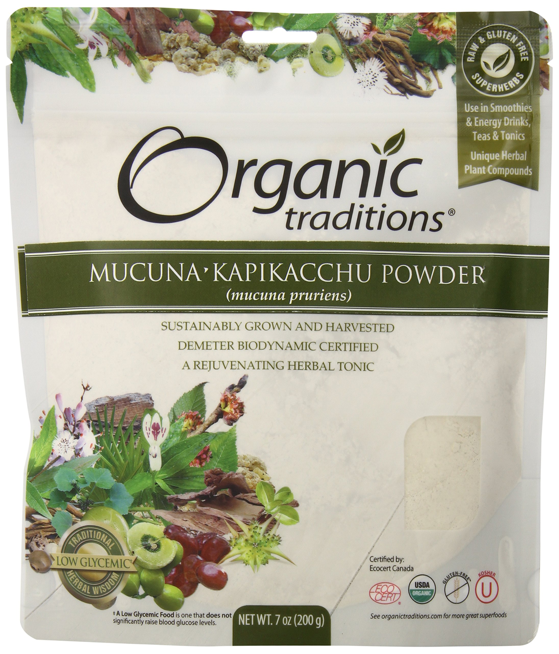 Organic Traditions Kapikacchu Powder, Mucuna, 7 Ounce (Pack of 12)