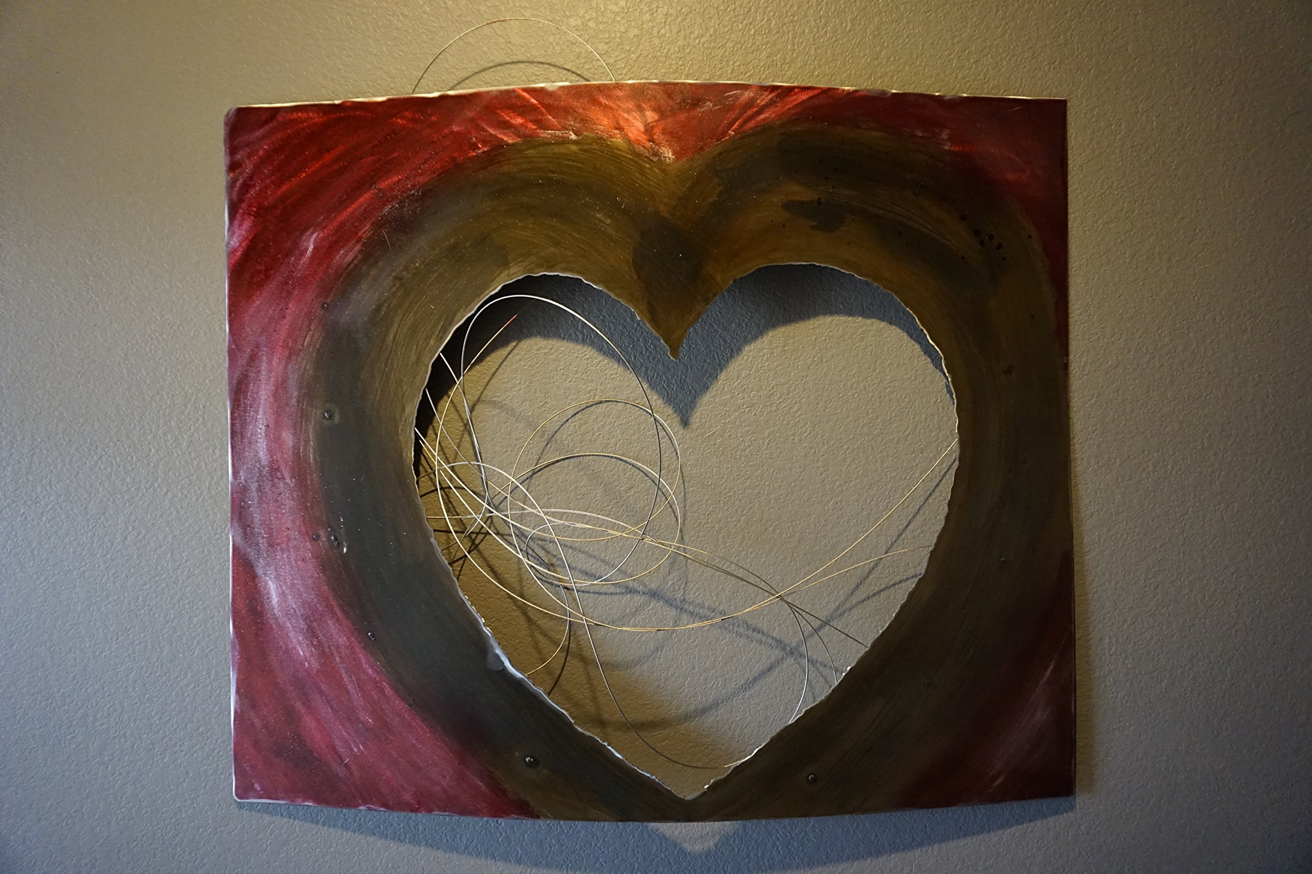 Wall Decor - Hand made one of a kind kind abstract metal art piece. Heart with movable wires - ''Forever Changing Heart''
