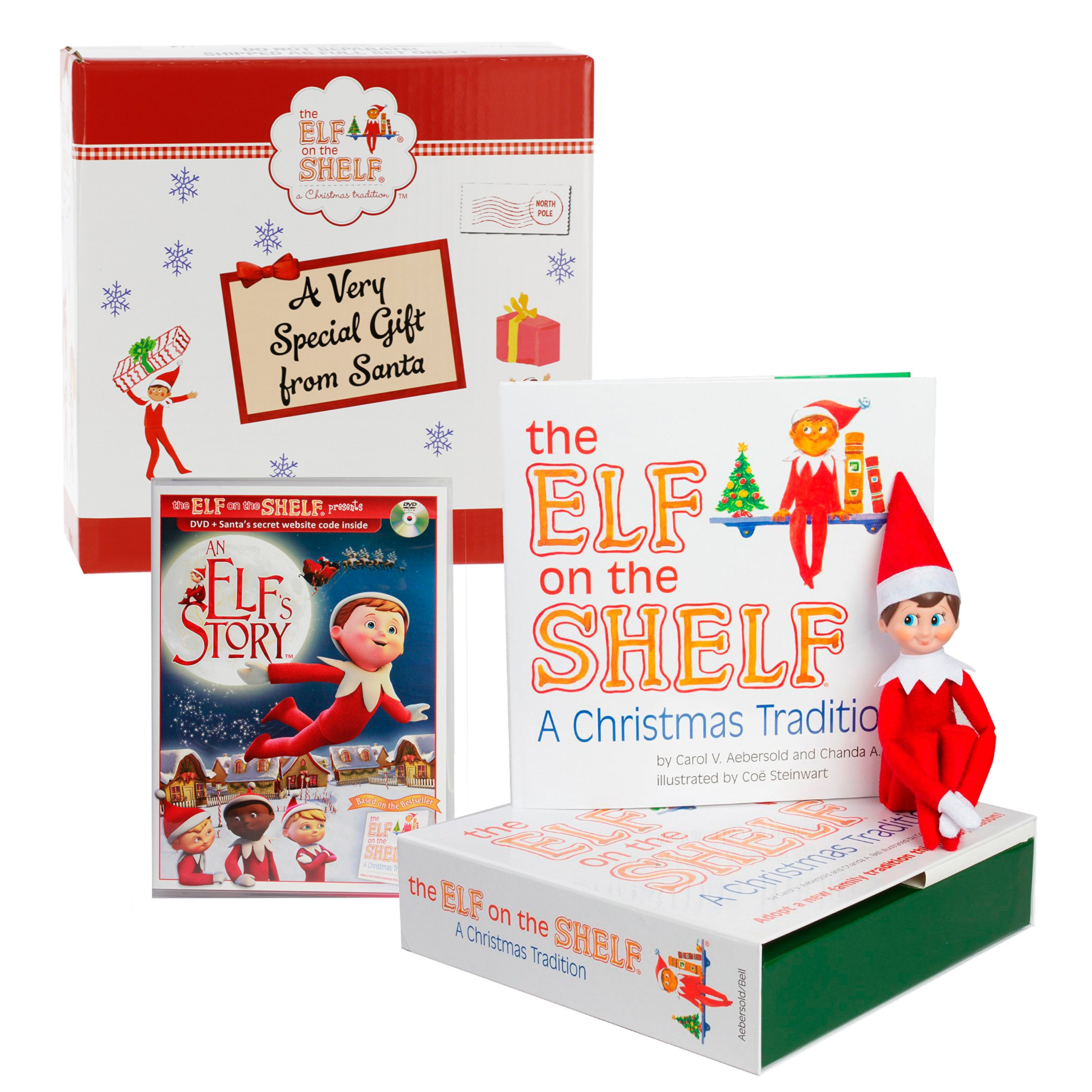 Elf on the Shelf Blue Eyed Boy with Bonus ''An Elf Story'' DVD - Direct From North Pole in Limited Edition Official Gift Box