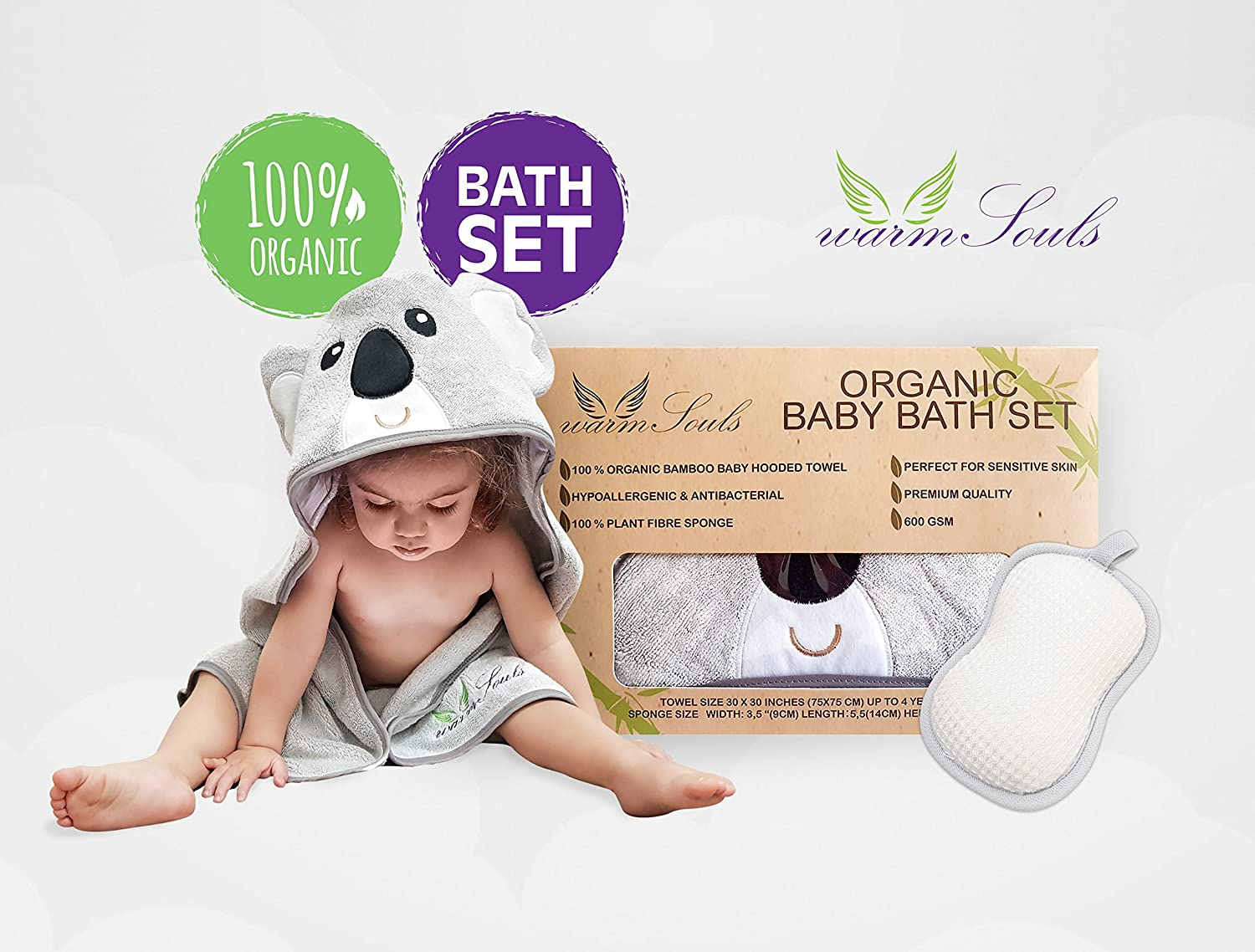 ebdaa5f77 Baby Hooded Towel Bamboo Ultra Soft Koala Bear + Bonus 100% Natural Plant  Fibre Sponge,Organic Baby Bath Set-Premium Quality 600GSM Tickness,Large  Size,for ...