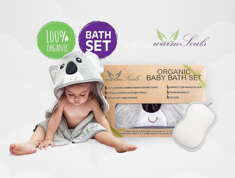 Baby Hooded Towel Bamboo Ultra Soft Koala Bear + Bonus 100% Natural Plant Fibre Sponge,Organic Baby Bath Set-Premium Quality 600GSM Tickness,Large Size,for Baby Girls and Boys Luxury Gift Set