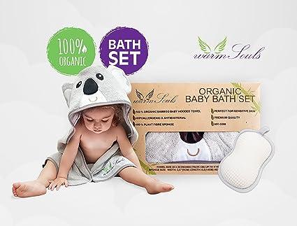 Baby Baño Set,100% ORGÁNICO de bambú toalla con capucha diseño koala+100