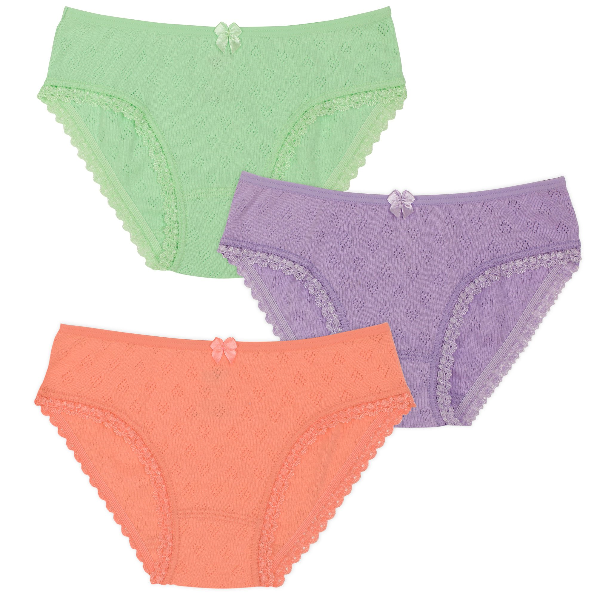 Lucky & Me Lily Little Girls Underwear, Organic Cotton Briefs, Cotton Candy, 3-Pack, 2/3