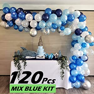 RC&Z Navy Blue Balloon Garland Arch Kit - 120 with Royal Blue, Baby Blue, White, Silver Metallic and Confetti Latex Balloons for Baby Shower Decorations Bachelorette Birthday Party Backdrop Background