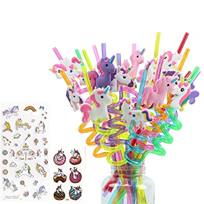24 Value Pack of Fun Unicorn Straws, Multiple Designs, Full Unicorns, Unicorn Stickers and Tattoos, Twist Design, Many Unique Unicorn Designs and Colors, Perfect Unicorn Party Favor: Toys & Games