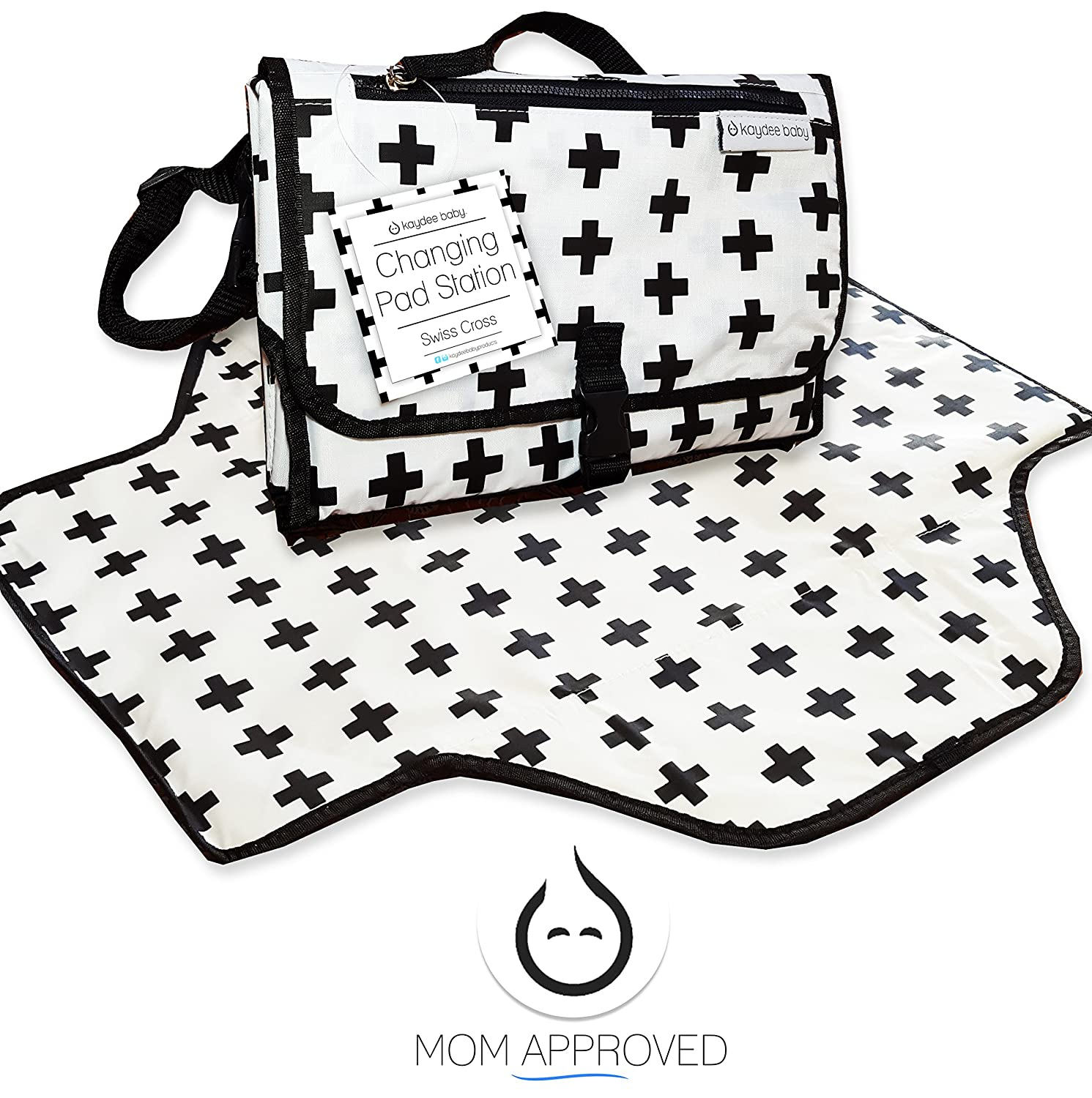 Kaydee Baby Portable Swiss Cross Diaper Changing Pad Station with Pockets, Black/White