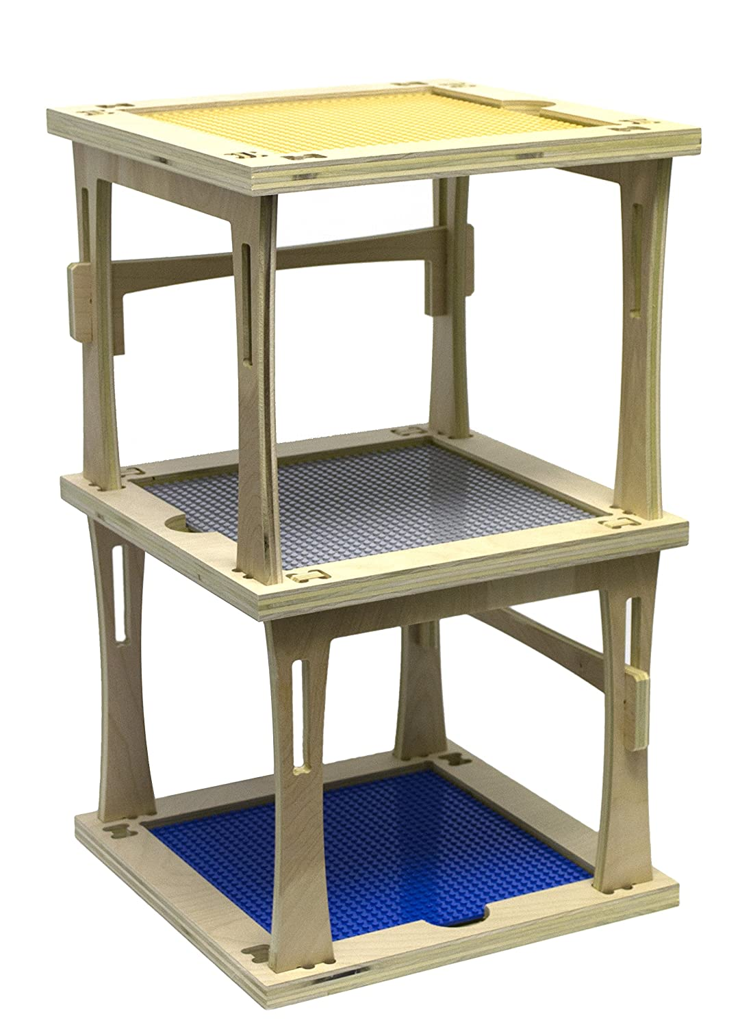 "3 Level Stackable Wooden Tower für Building Bricks, 22"" Tall - Assemble Yourself, gemacht bei die uns - Compatible mit alle Major Brands - Comes mit 3 10""X10"" Thick Compatible Basis Plates"