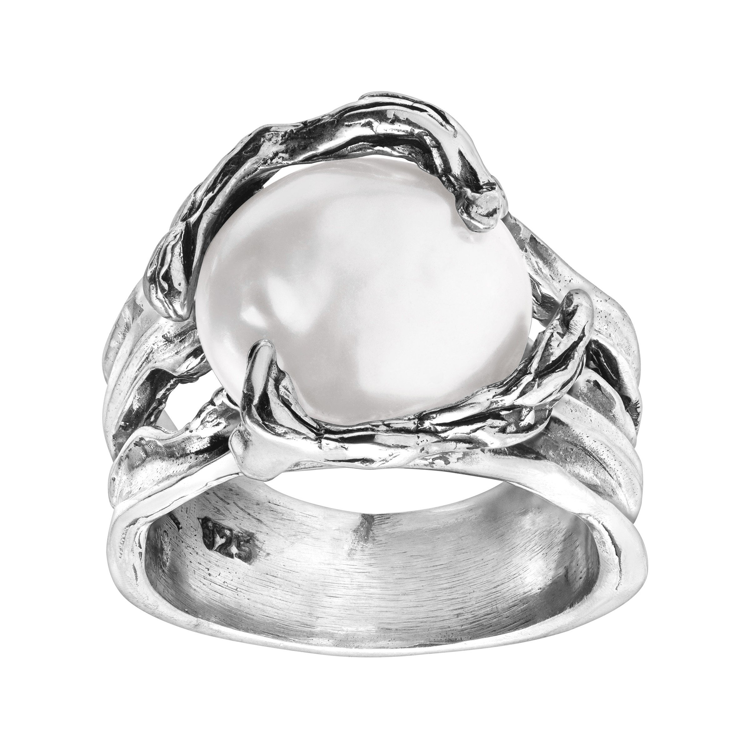 Silpada 'Branch Out' 14 mm Mother-of-Pearl Ring in Sterling Silver