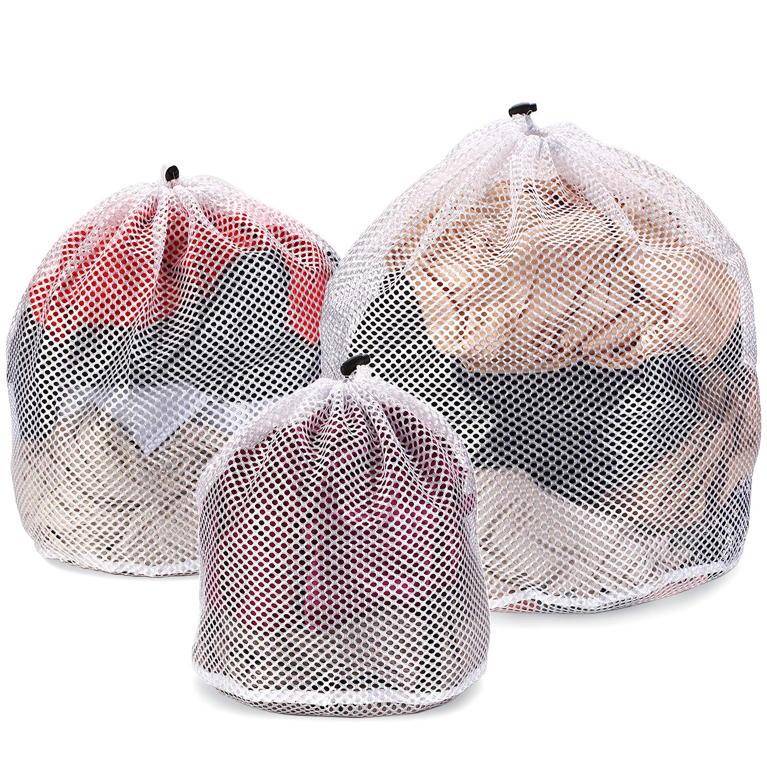 Ovee Lando Drawstring Lingerie Laundry Wash bags Set for Delicates, Garments, Blouse, Sweaters, Bras, and Quilts, Set of 3, Include 3 different Type of size