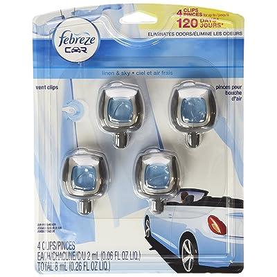 Febreze Car Vent-Clip Air Fresheners - 4 Pack (Linen & Sky)0.06 FL.OZ: Automotive [5Bkhe0805282]