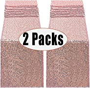 FECEDY 2pcs 12 x 108inch Glitter Rose Gold Sequin Table Runner for Birthday Wedding Engagement Bridal Shower Baby Shower Bach