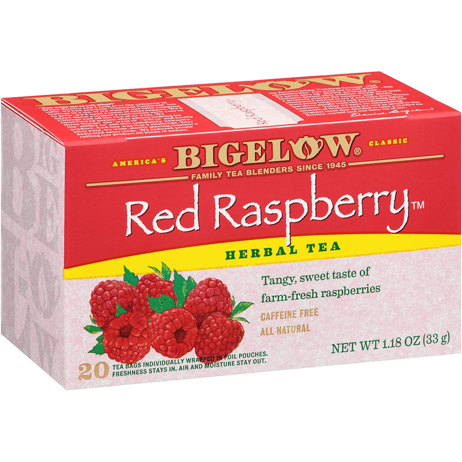Bigelow Red Raspberry Herbal Tea 20 Bags (Pack of 6), 120 Tea Bags Total. Caffeine-Free Individual Herbal Tisane Bags, for Hot Tea or Iced Tea, Drink Plain or Sweetened with Honey or Sugar