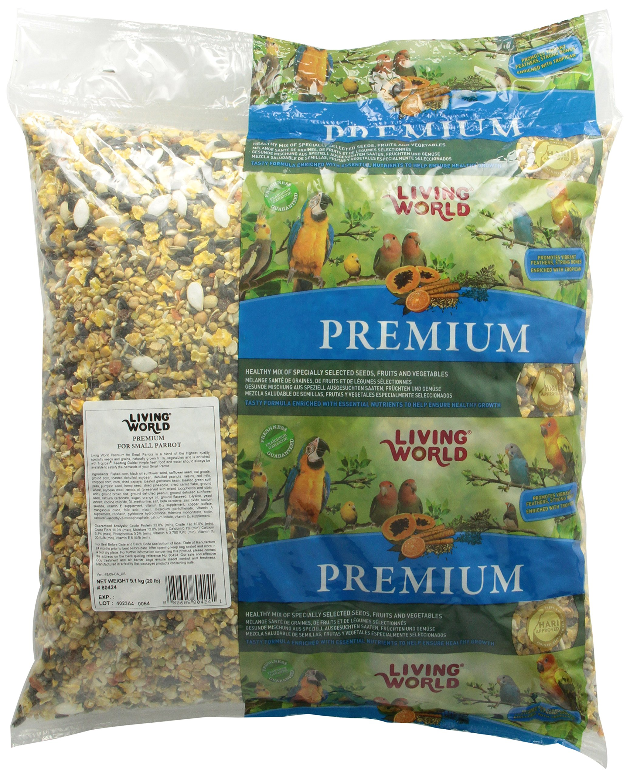 Living World Small Parrots Premium Mix With Pillow Bulk Bag, 20-Pound by Living World