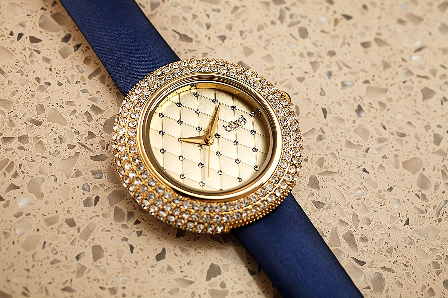 Burgi Swarovski Crystals Encrusted Quilted Dial - Swarovski Crystals Bezel with Satin Leather Strap Women's Watch - Mothers Day Gift - BUR207 Midnight Blue & Gold