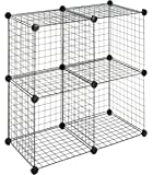Whitmor Storage Cubes Set of 4 Black Wire