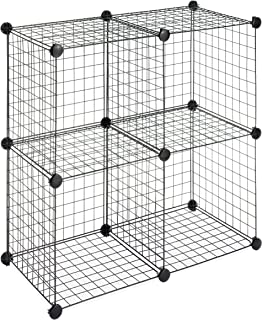 Whitmor Storage Cubes - Stackable Interlocking Wire Shelves -Black (Set of 4)  sc 1 st  Amazon.com & Amazon.com: Grid Wire Modular Shelving and Storage Cubes: Kitchen ...