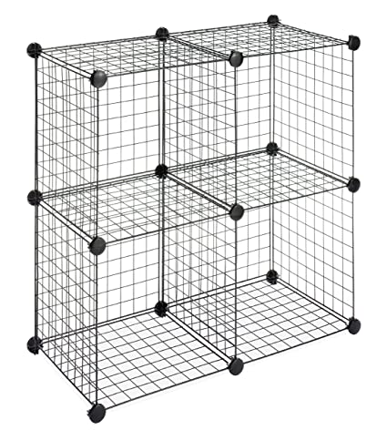 Superbe Whitmor Storage Cubes   Stackable Interlocking Wire Shelves  Black (Set Of  4)