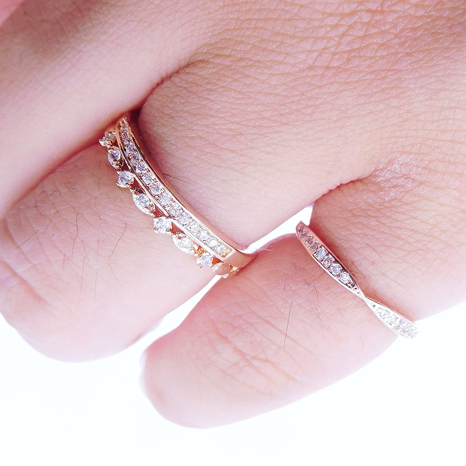 Amazon.com: 14K Dainty and Delicate Double Pave CZ Band Ring - Rose ...