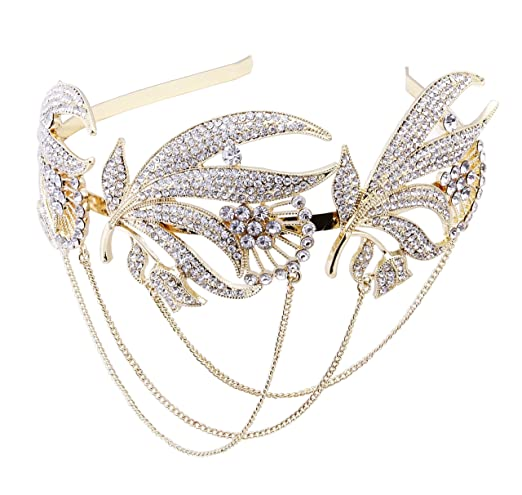 1920s Accessories | Great Gatsby Accessories Guide BABEYOND Roaring 20s Forehead Band 1920s Bridal Headpiece Vintage Forehead Chain for Wedding Bridesmaid Gatsby Costume Accessories with Gift Box $16.99 AT vintagedancer.com