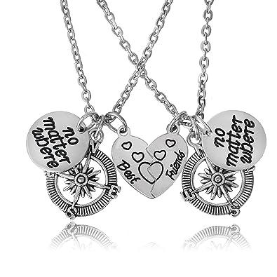 BESPMOSP Long Distance Friendship Gift, Best Friend Couple Necklace, Friend Jewellery