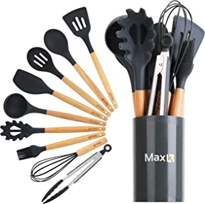 Max K Kitchen Utensil Set - 10-Piece Utensils with Silicone Tips, Wooden Handles, Countertop Holder - FDA-Grade Tools for Frying, Cooking, Mixing, Serving Dishes - Best for Nonstick Pots & Pans