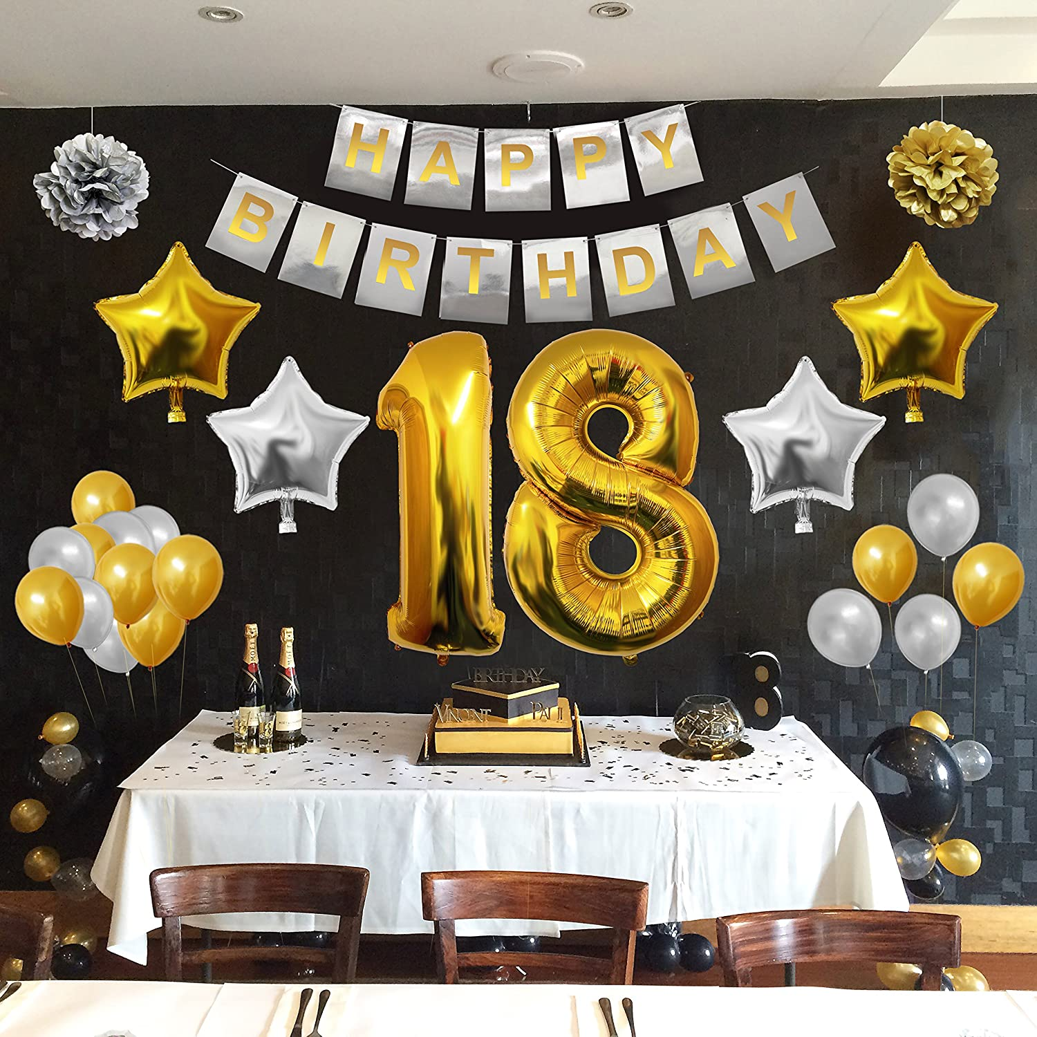 Complete 18th Happy Birthday Party Balloons Set, Supplies & Decorations by Belle Vous - Large 18 Years...