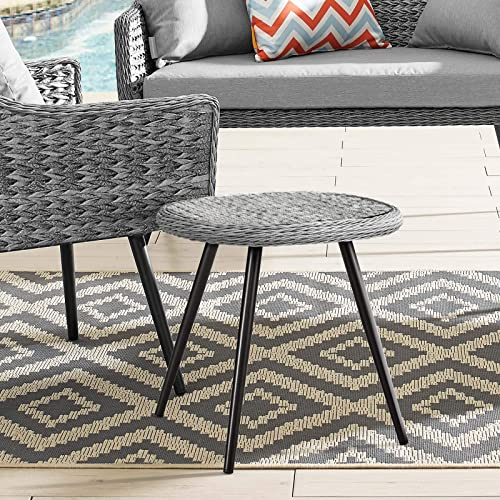 Modway Endeavor Wicker Rattan Aluminum Glass Outdoor Patio Side End Table