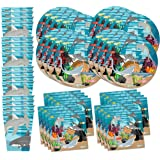 Shark Birthday Party Supplies Set Plates Napkins Cups Tableware Kit for 16 by Birthday Galore