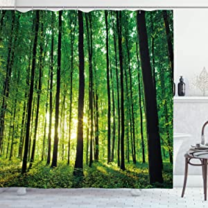 """Ambesonne Forest Shower Curtain, Green Woodland at Sunrise Scenic Morning Nature Environment Ecology Serenity, Cloth Fabric Bathroom Decor Set with Hooks, 70"""" Long, Green Black"""